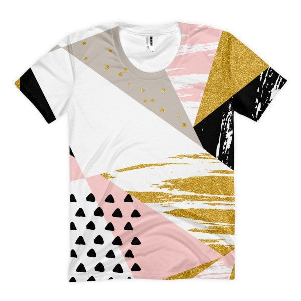 All over print - Gold & Black geometric  Women's sublimation t-shirt - Hutsylife - 1