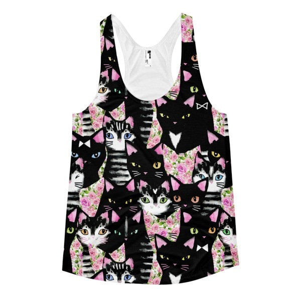 All over print - Cat collage Women's Racerback Tank - Hutsylife - 1