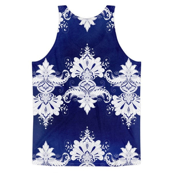 All over print - Blue & white flow Classic fit men's tank top - Hutsylife - 2