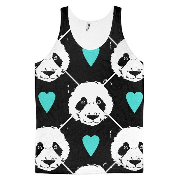 All over print -Heart Panda Classic fit men's tank top - Hutsylife - 1