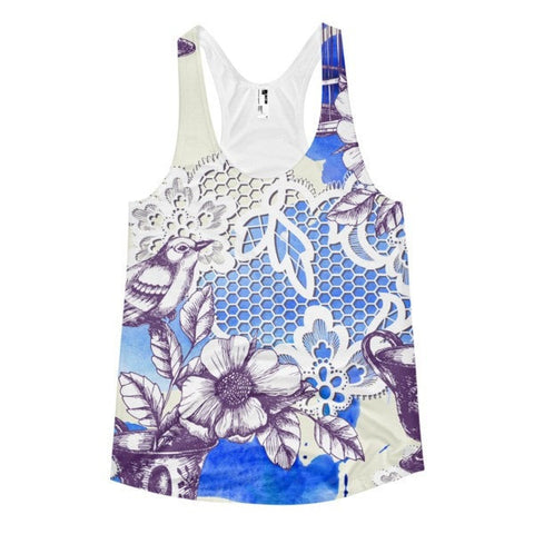 All over print - Bird romance Women's racerback tank