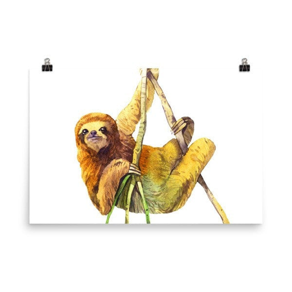 Watercolor Sloth Poster - Hutsylife - 9