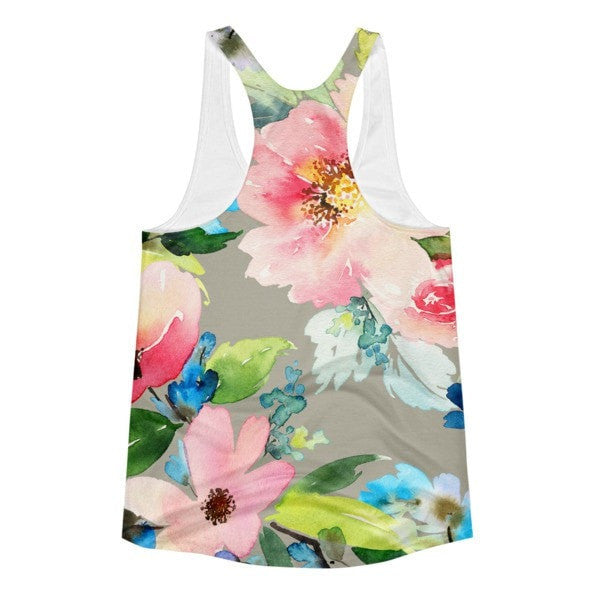 All over print - Watercolor flower Women's Racerback Tank - Hutsylife - 2