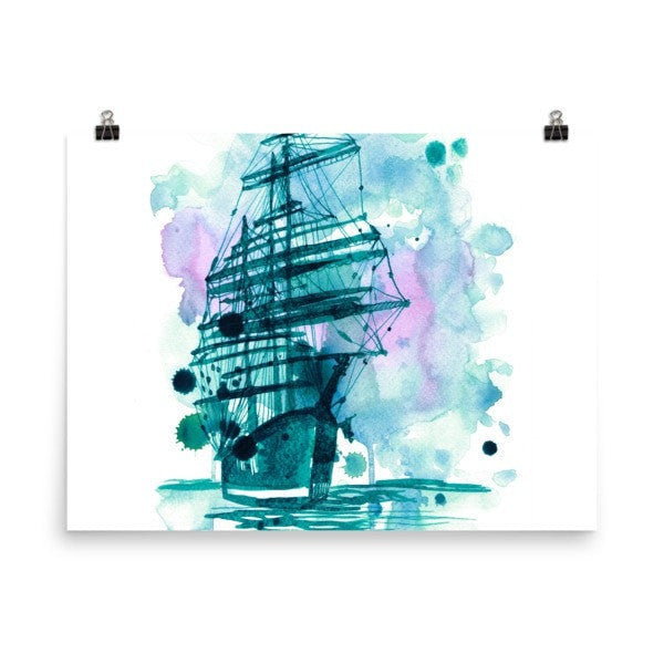 Watercolor ship Poster - Hutsylife - 6