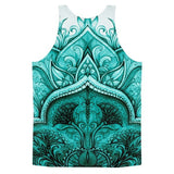 All over print - Regular teal Moroccan floral Classic fit men's tank top - Hutsylife - 2