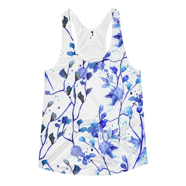 All over print - Blue vine Women's racerback tank - Hutsylife - 1