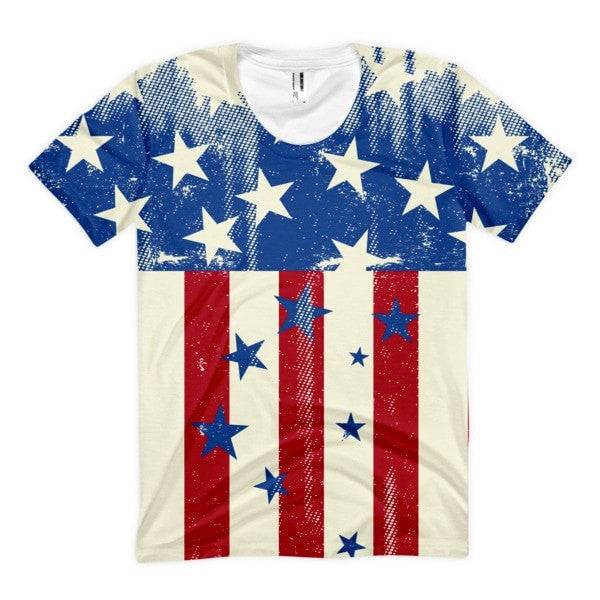 All over print - Patriot Rain Women's Sublimation T-Shirt - Hutsylife - 1