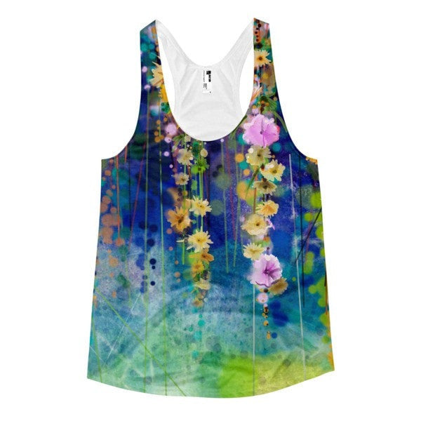All over print - Floral lush Women's Racerback Tank - Hutsylife - 1