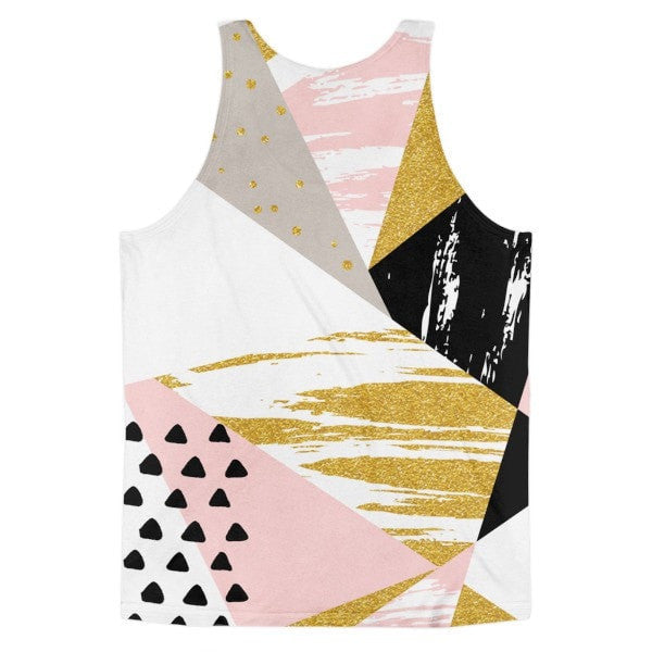 All over print - Gold & Black geometric Classic fit men's tank top - Hutsylife - 2