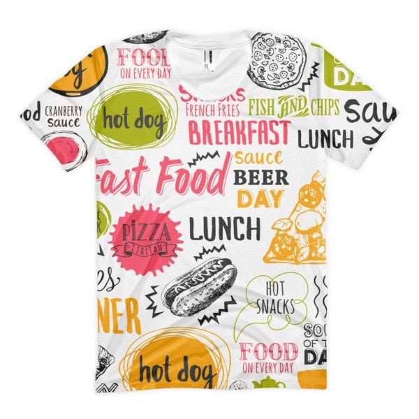 All over print - Food love Women's sublimation t-shirt - Hutsylife - 1