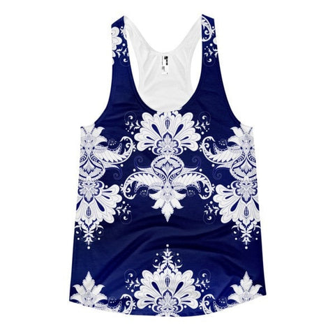 All over print - Blue & white flow Women's racerback tank