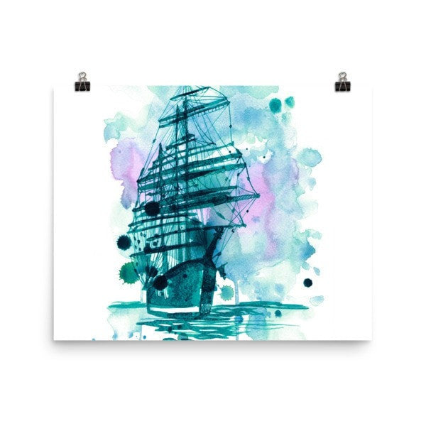 Watercolor ship Poster - Hutsylife - 8