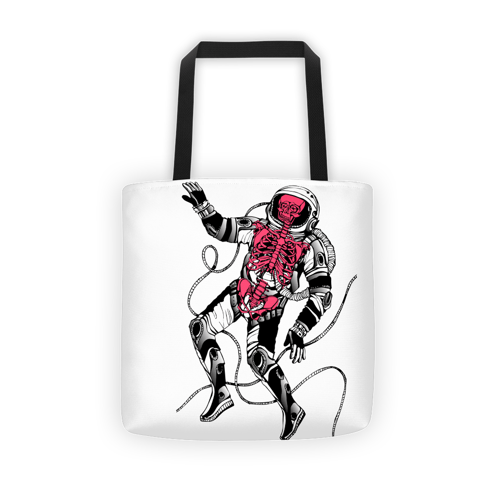 Red skeleton spaceman Tote bag