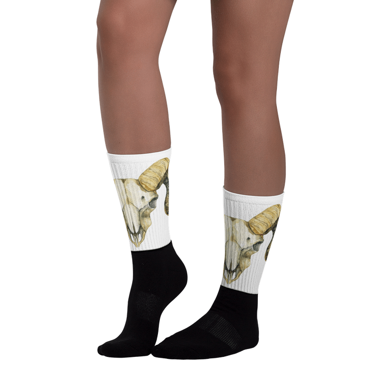 Ram skull Black foot socks