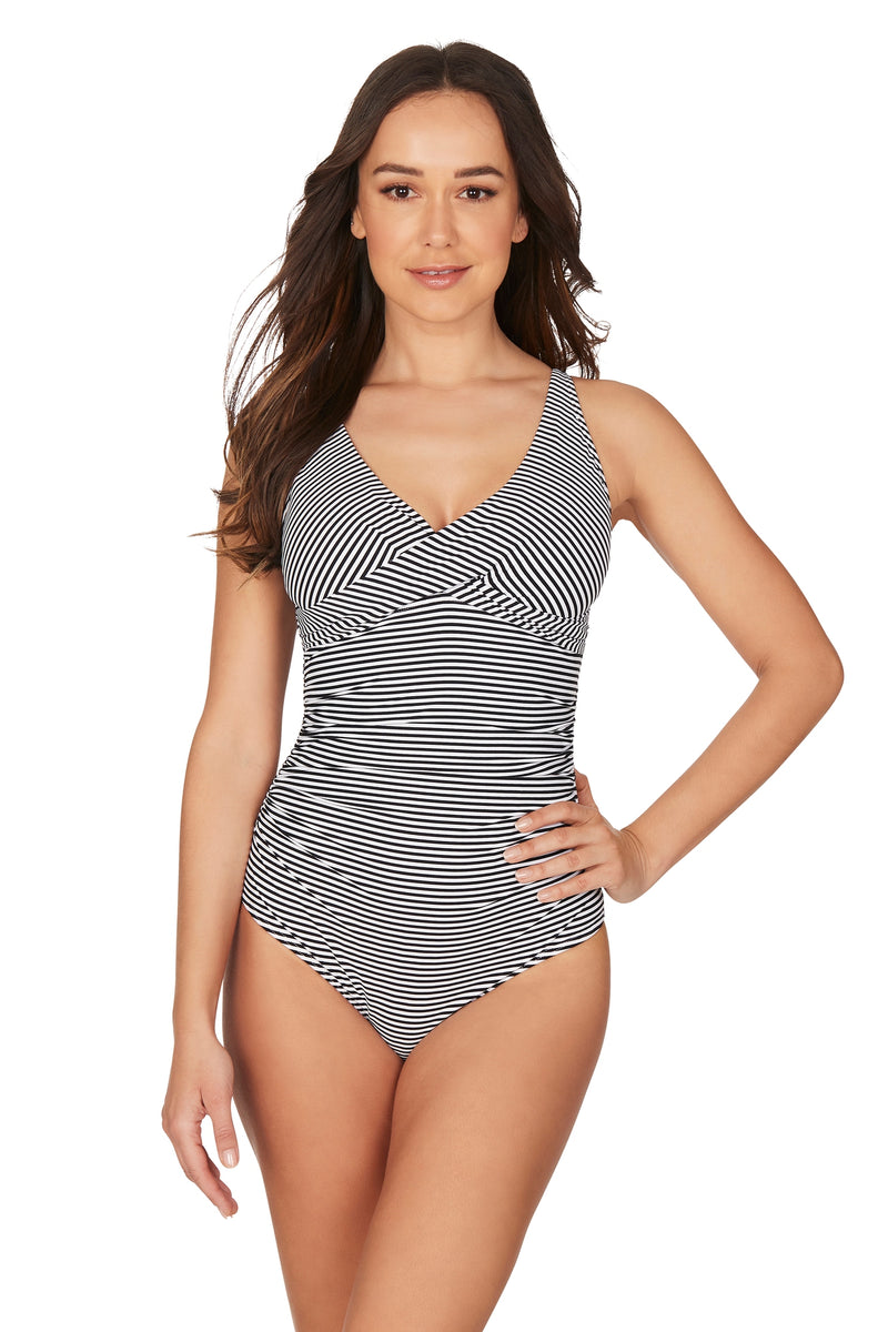 Stripe Black Louise Cross Front Tummy Control One Piece Swimsuit