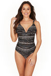 Savannah Stripe Dulcie Grecian Design Tummy Control One Piece Swimsuit