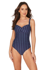 Abandon Ship Twist Front Design Tummy Control One Piece Swimsuit