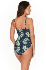 Paintbox Fleurs Twist Front Design Tummy Control One Piece Swimsuit - Final Sale