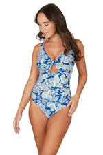 Paisley Shade Blue Connie D/DD Underwire Tie Front Design Tummy Control One Piece Swimsuit