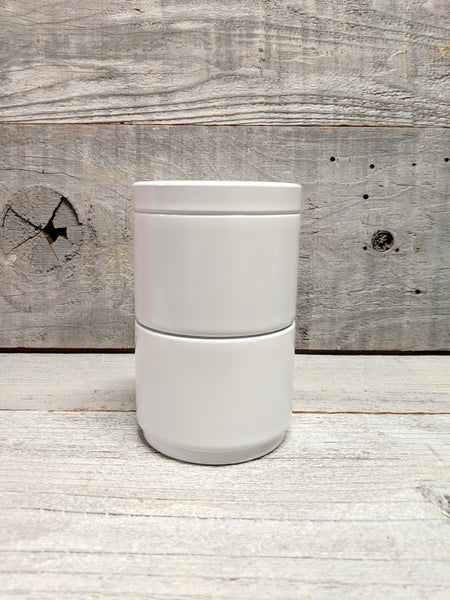 White 2 Stack Tea Canister