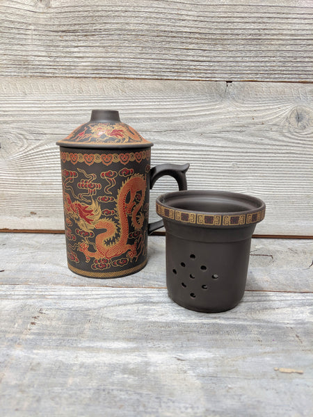 Black Yixing Clay Dragon Mug with Infuser & Lid