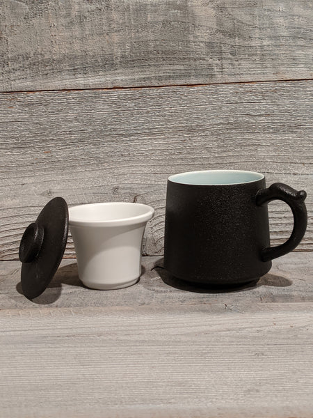 Black Ceramic Mug with Infuser & Lid