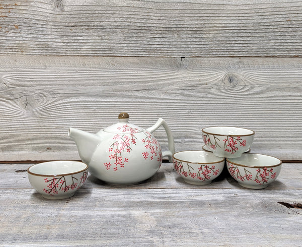 Modern Cherry Blossom Ceramic Tea Set