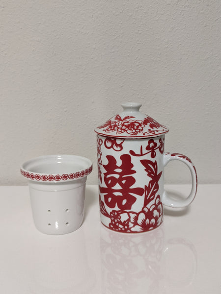 Ceramic Mug with Lid & Infuser - Double Happiness