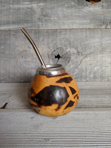 Fire-burned Mate Gourd & Bombilla Set