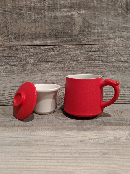 Red Ceramic Mug with Infuser and Lid