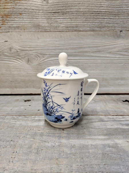 White China Bird Mug with Lid