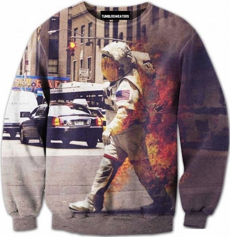 Astronaut on Fire Sweater