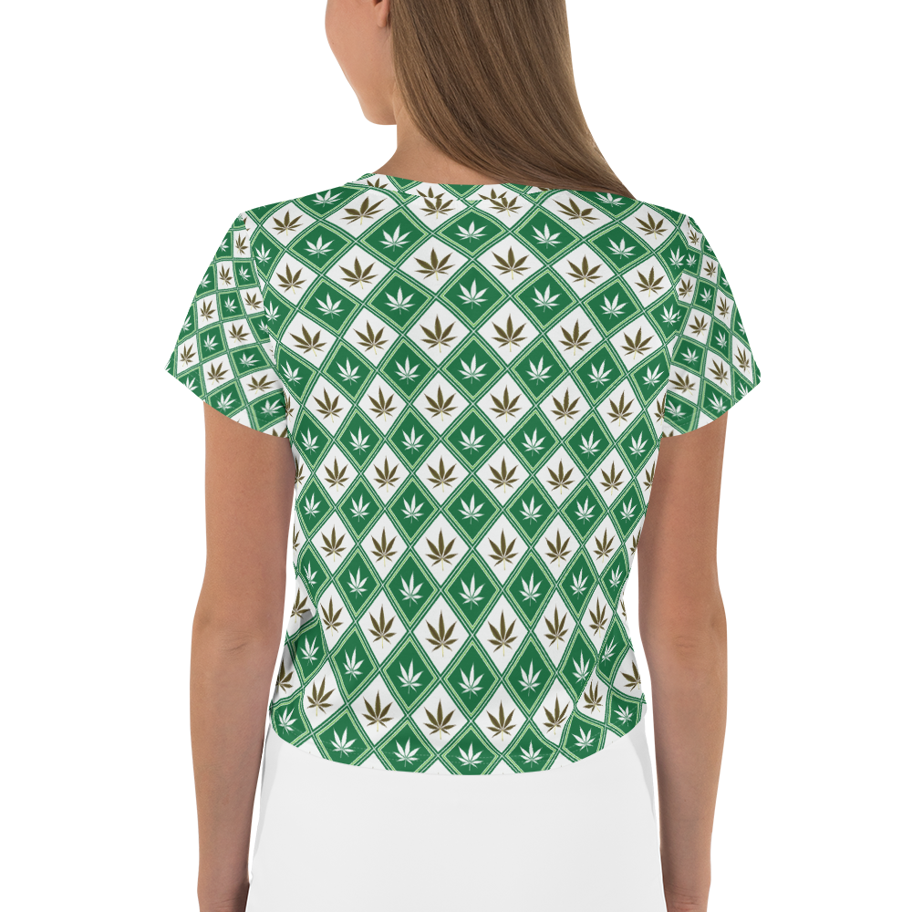 Women's Checkered Leaf All-Over-Print Crop Tee
