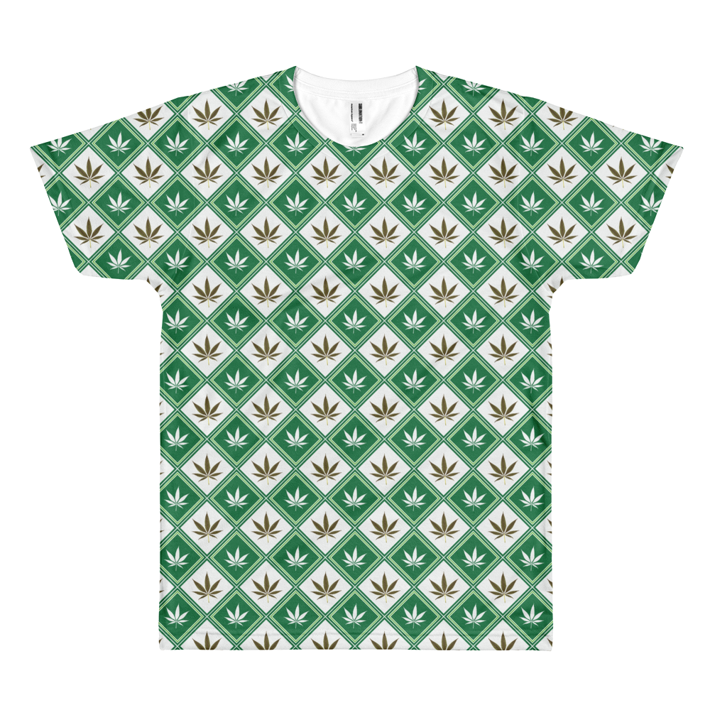 Checkered Leaf All-Over-Print T-Shirt