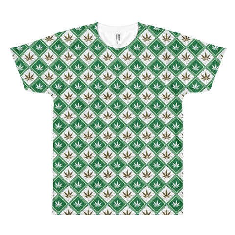 Image of Checkered Leaf All-Over-Print T-Shirt