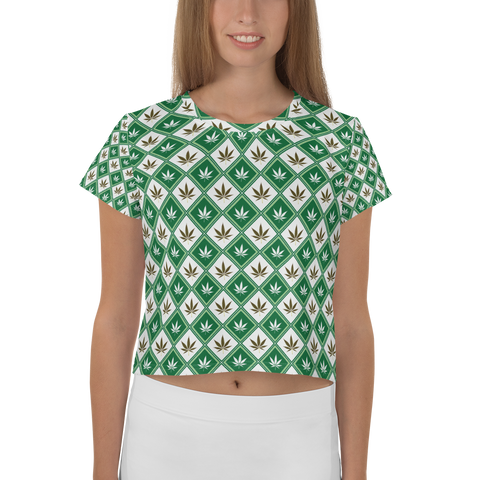 Image of Women's Checkered Leaf All-Over-Print Crop Tee