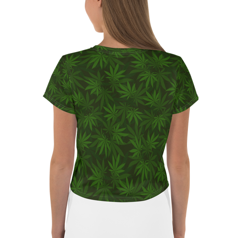 Women's Forest Leafy Greens All-Over-Print Crop Tee
