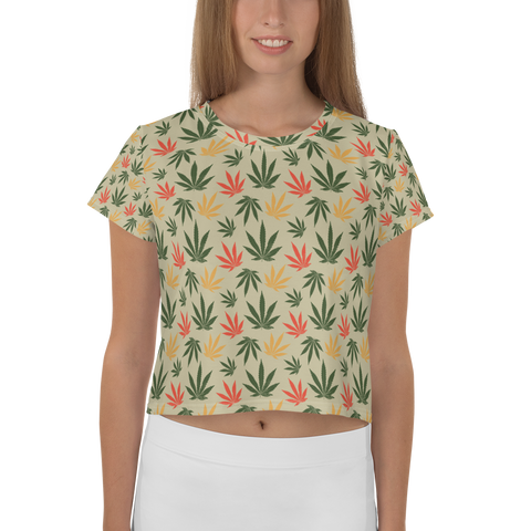 Women's Vintage Rasta All-Over-Print Crop Tee