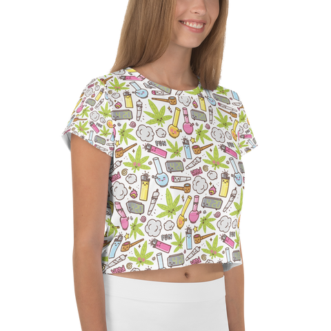 Women's Happy Trees All-Over-Print Crop Tee