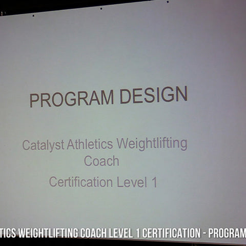 Level 1 Weightlifting Seminar Part 5: Program Design