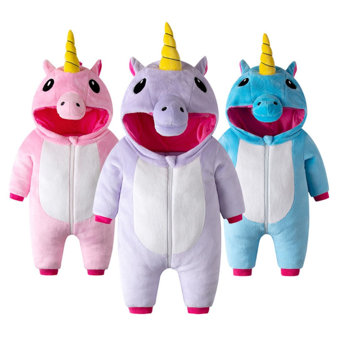 Unisex Baby Flannel Romper Animal Onesie Unicorn Costume Hooded Cartoon Outfit Suit costume
