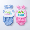 2-piece God Bless design with Embroidery