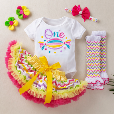 Embroidery Rainbow Candy 1st Birthday 4-piece