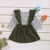 2-piece Baby / Toddler Flutter-sleeve Top and Floral Suspender Skirt Set