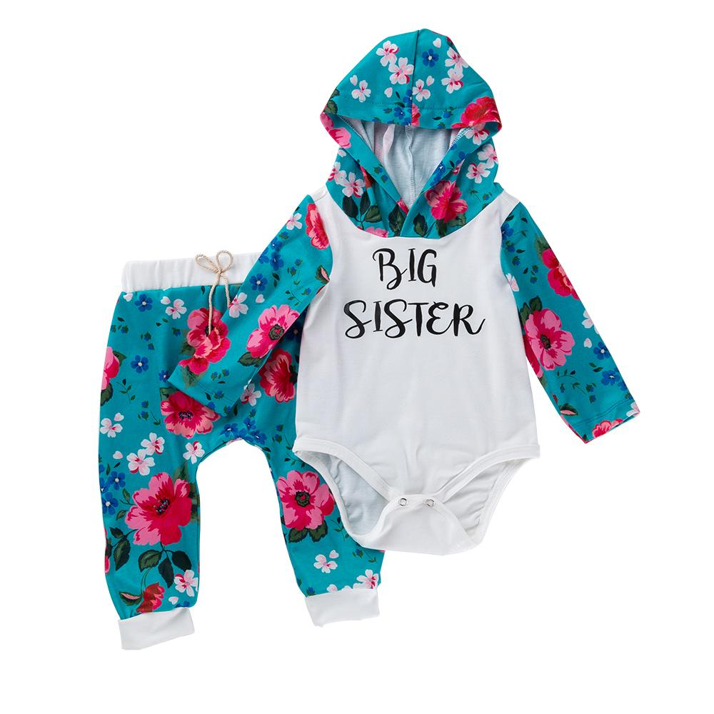 Baby Girl Big Sister Solid Hooded and Pants Set