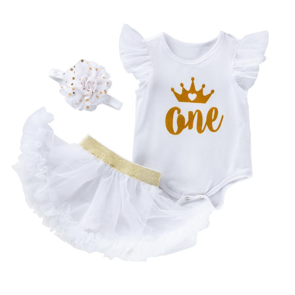 My First Birthday Angel's Design (White)_Romper & Dressy Shorts Suit