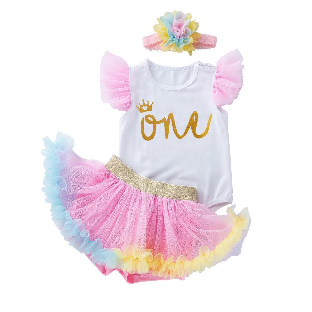 My First Birthday Angel's Design (Pink)_Romper & Dressy Shorts Suit