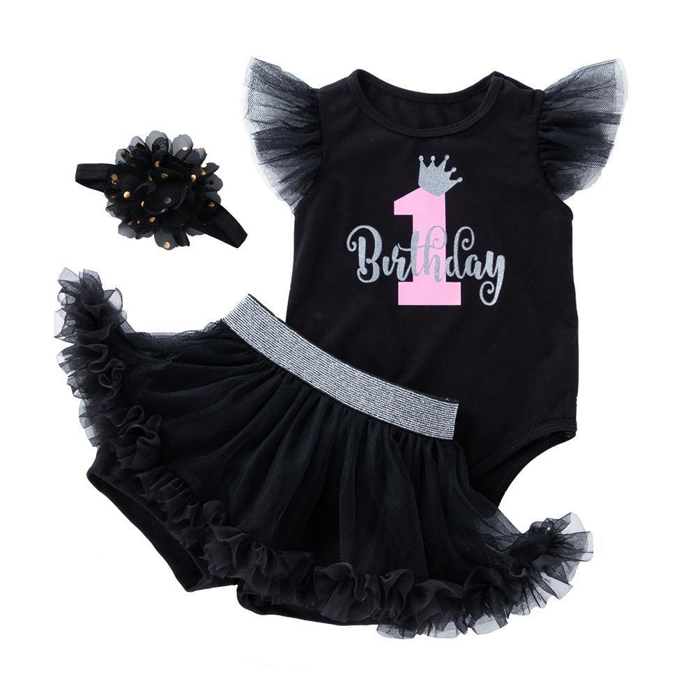 My First Birthday Angel's Design (Black)_Romper & Dressy Shorts Suit