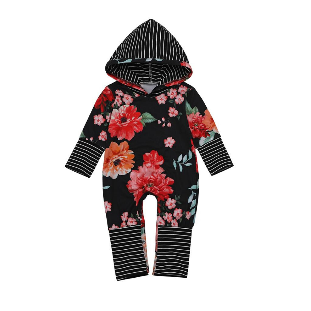 Baby Girl Floral Allover Stripe Hooded Long-sleeve Jumpsuit