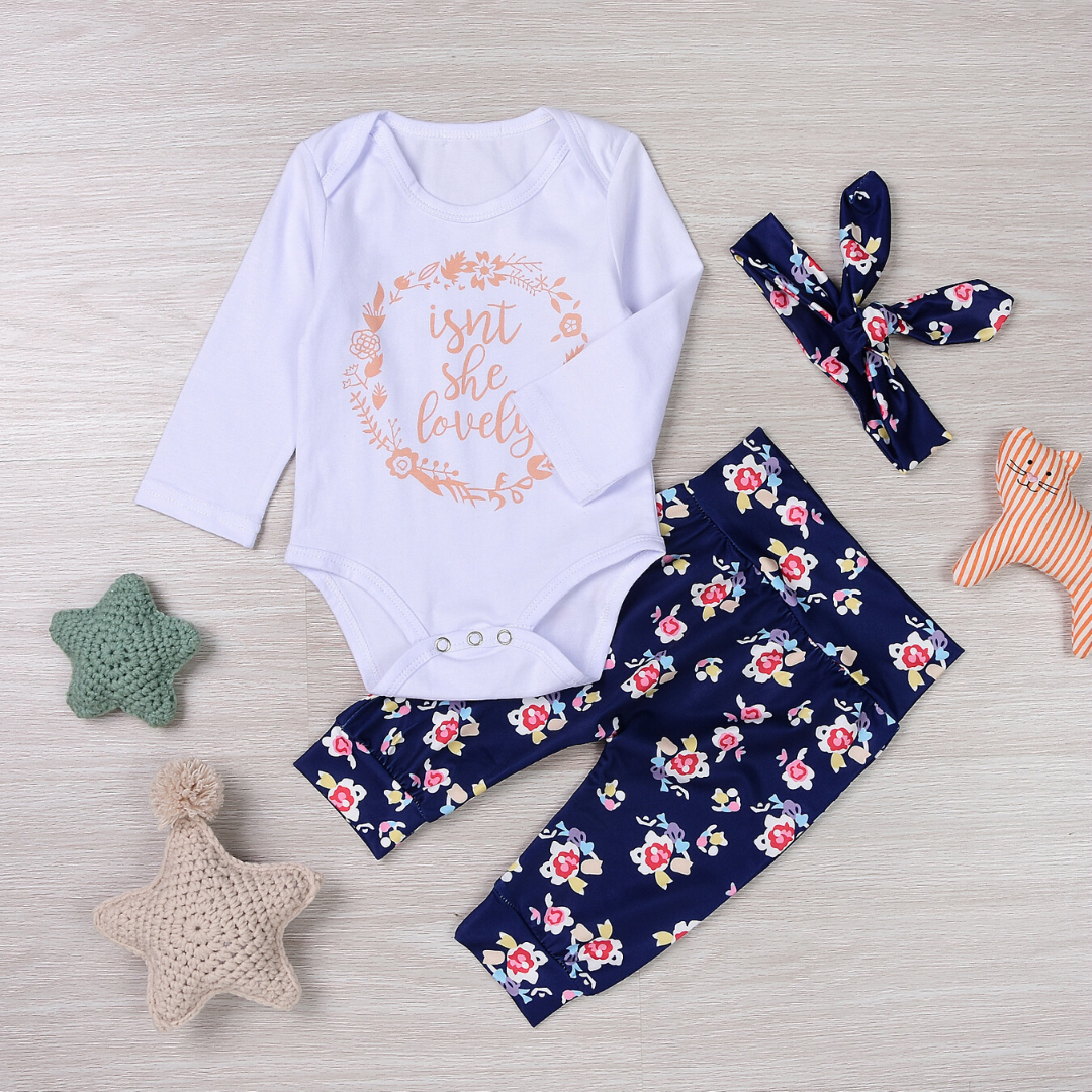 3-piece Baby ISN'T SHE LOVELY Bodysuit and Floral Pants with Headband Set